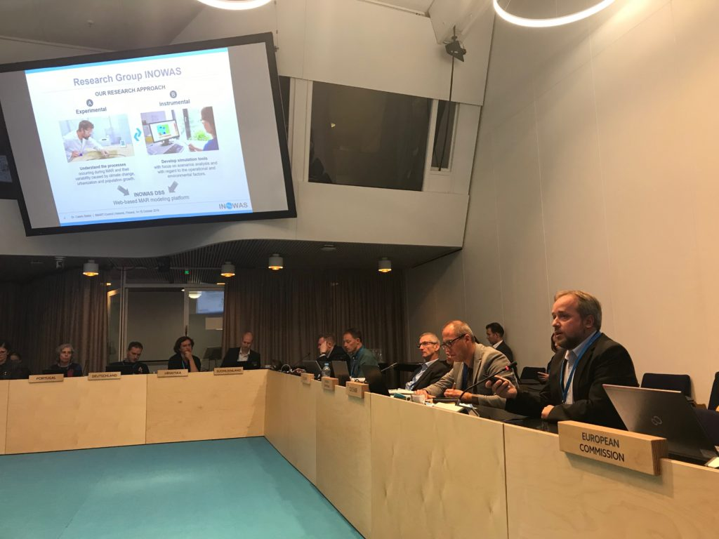 Dr. Catalin Stefan presenting the SMART-Control project and the work of the INOWAS Research Group at the 37th CIS Working Group Groundwater Meeting in Helsinki, Finland